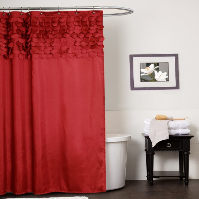 Red Shower Curtains Fabric