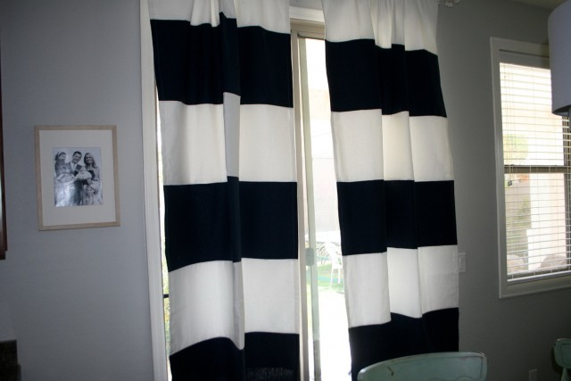 White And Navy Curtain Panels