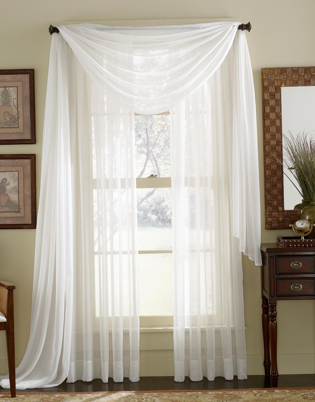 White Sheer Kitchen Curtains