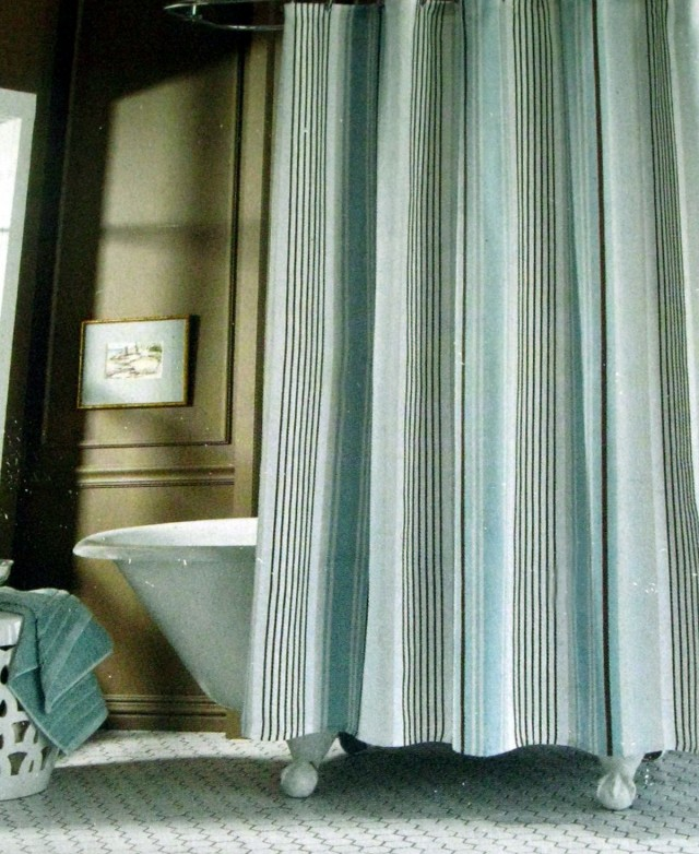 Blue Striped Shower Curtains