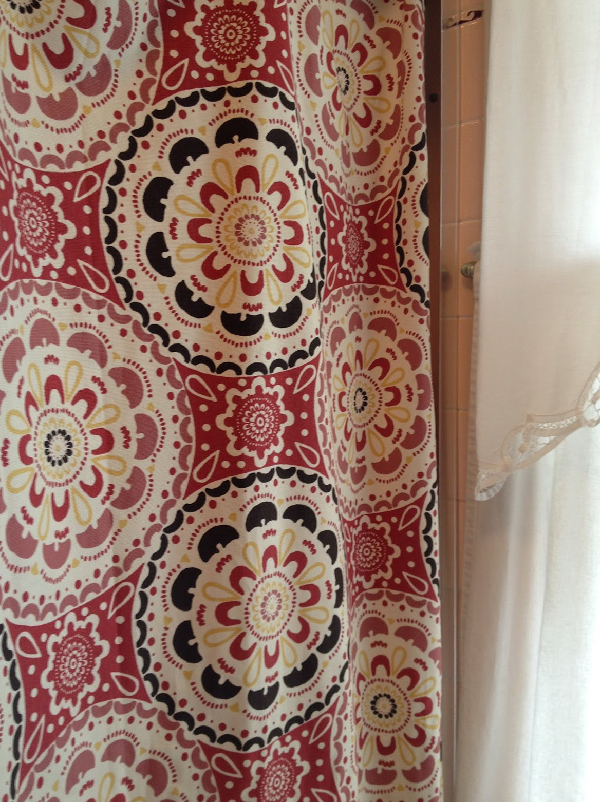 Chocolate Brown And Red Curtains
