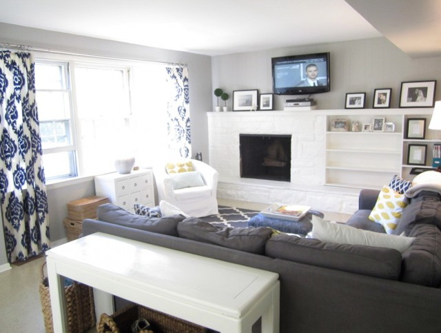 Gray Room With Blue Curtains