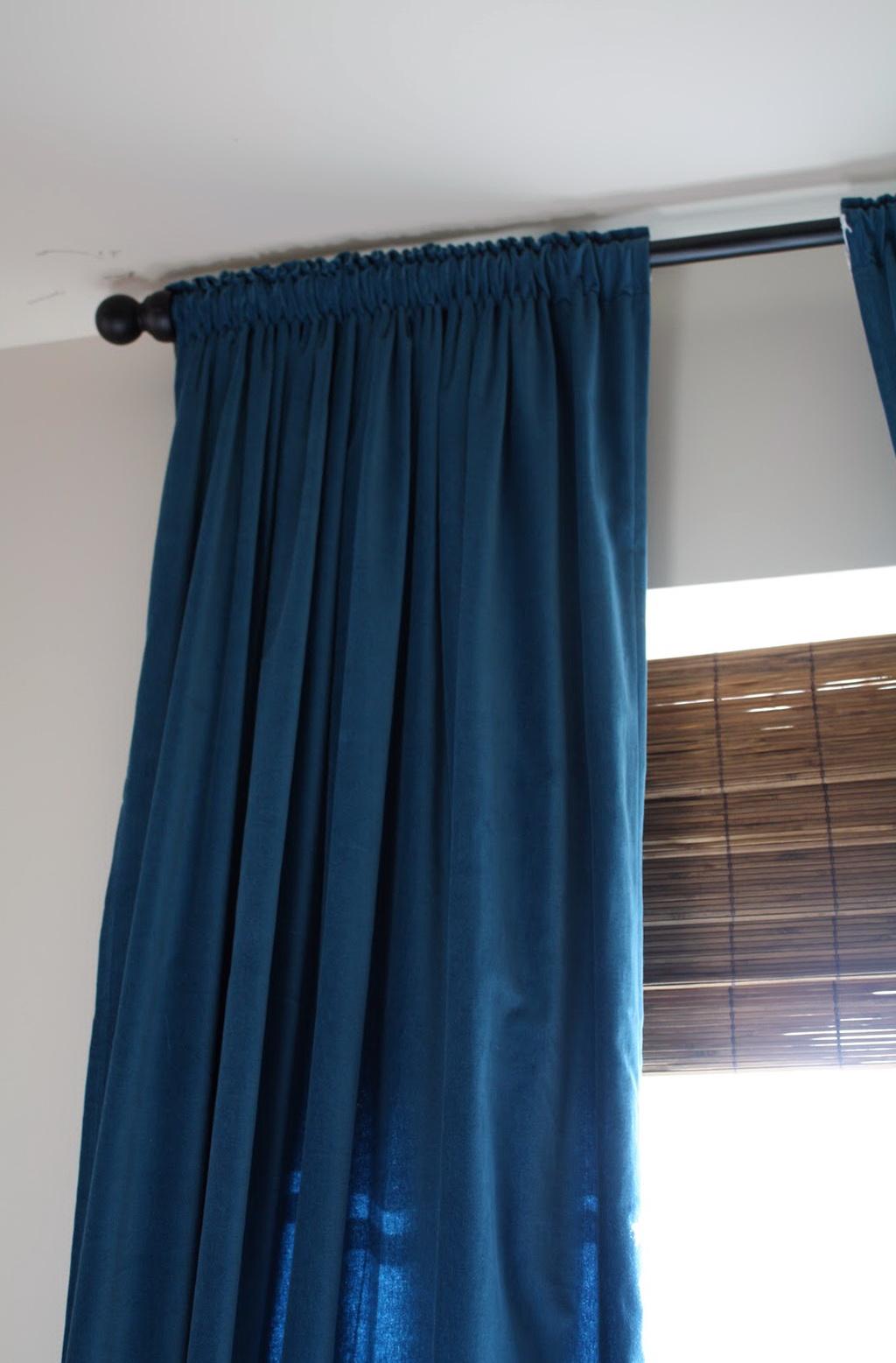 Grey Walls Blue Curtains