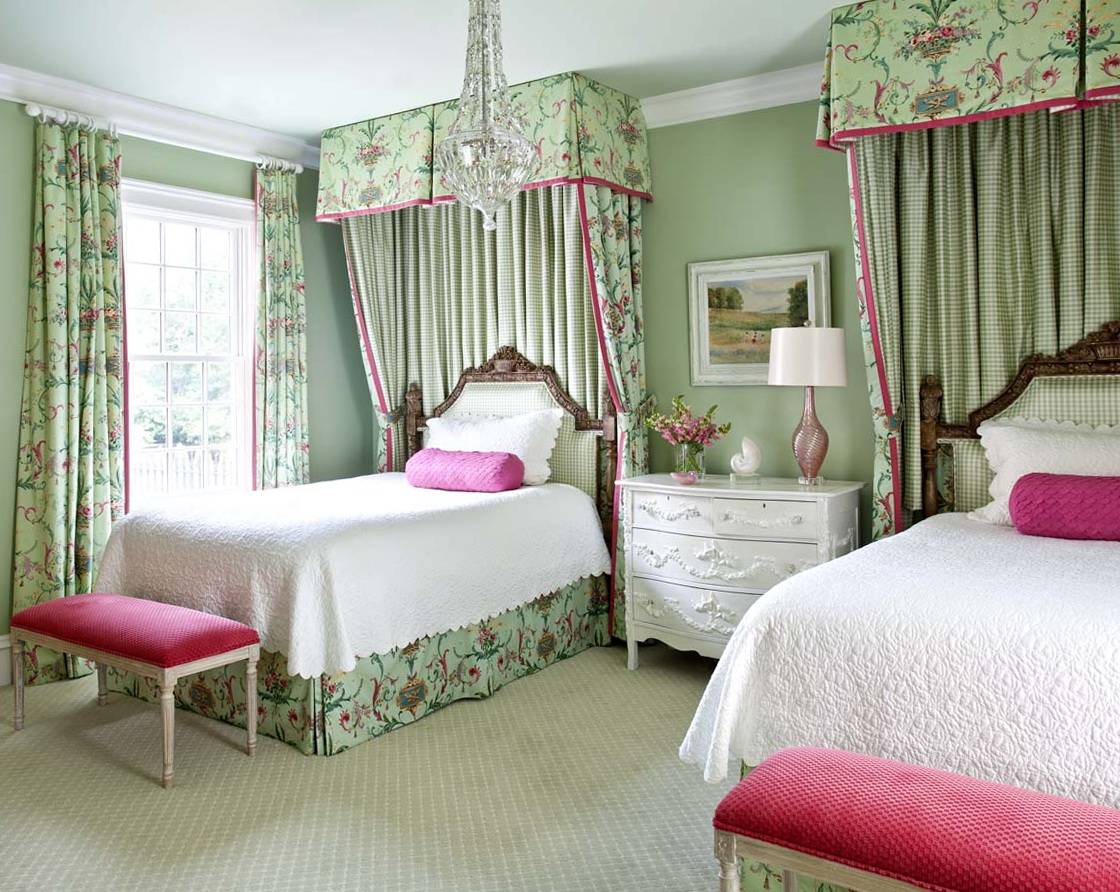 Pink And Green Patterned Curtains