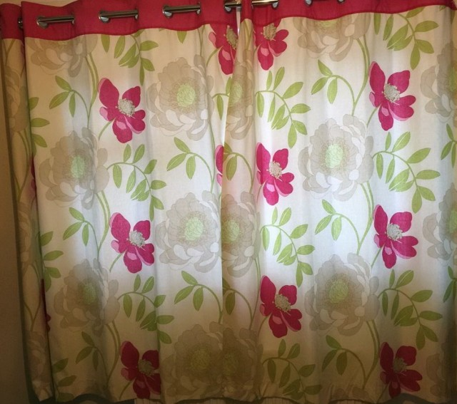 Pink And Grey Eyelet Curtains