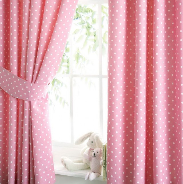 Pink Polka Dot Curtains Kids