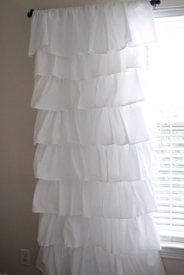 White Ruffle Curtain Panels 96