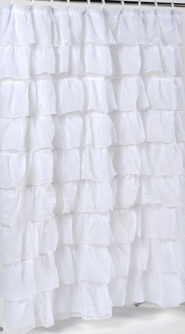 White Ruffle Shower Curtain