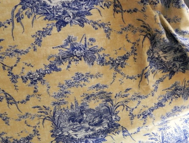 Yellow And Blue Toile Curtains