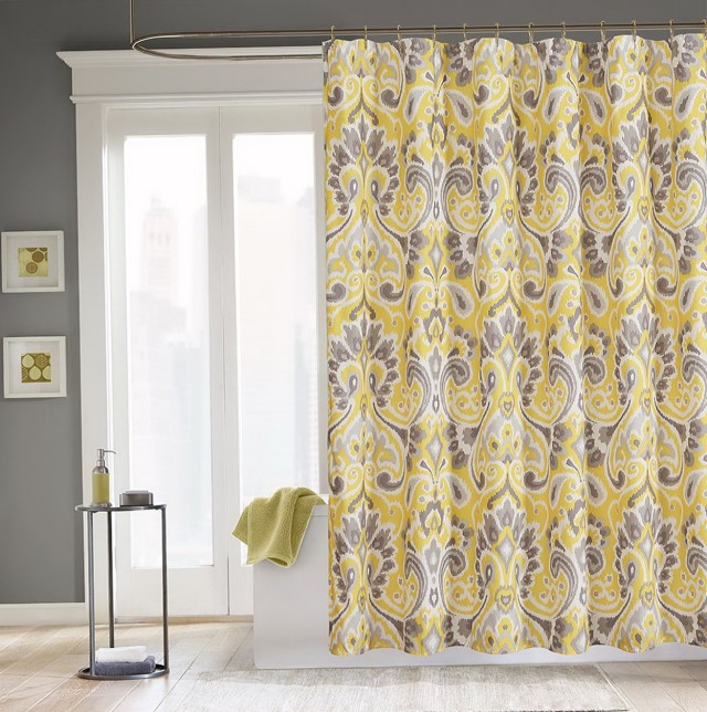 Yellow And Gray Curtain Panels