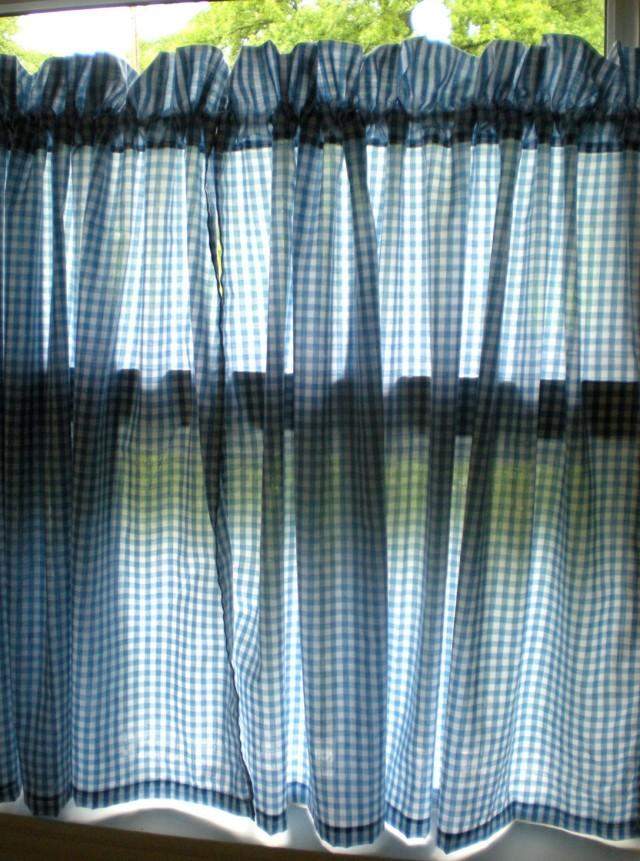 Blue See Through Curtains