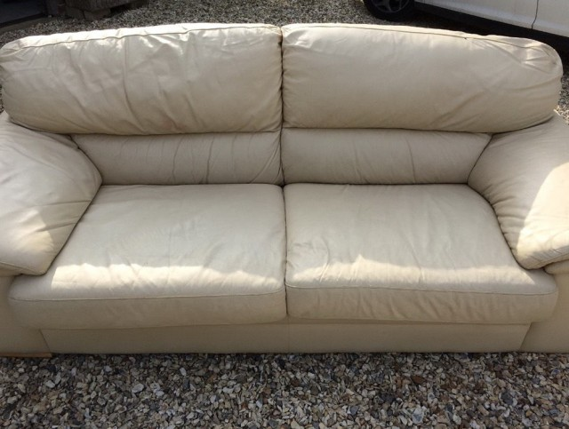 Cream Leather Sofa Cushions