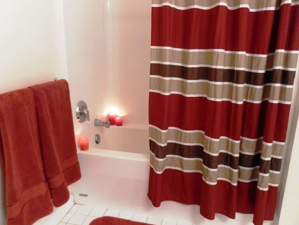 Dark Red And Cream Curtains