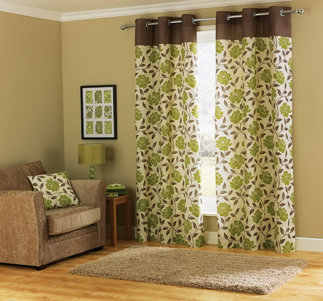 Green And Brown Curtain Panels