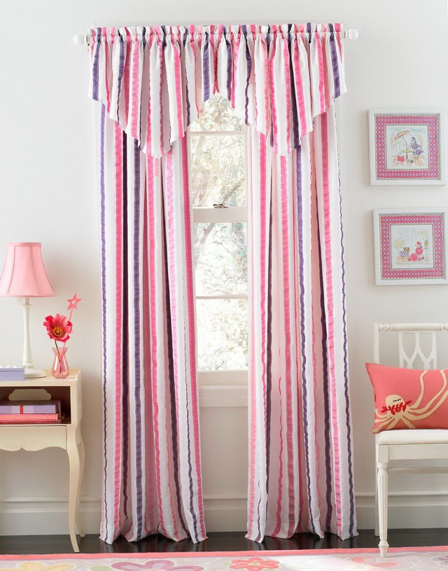Hot Pink Striped Curtains