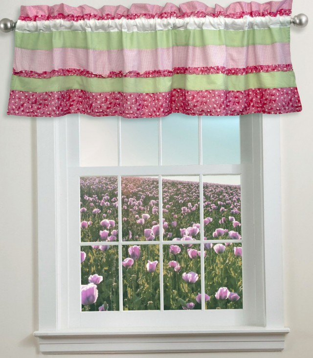 Pink And Green Striped Curtains