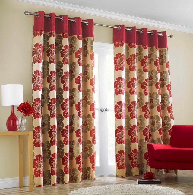 Red Brown And Cream Curtains