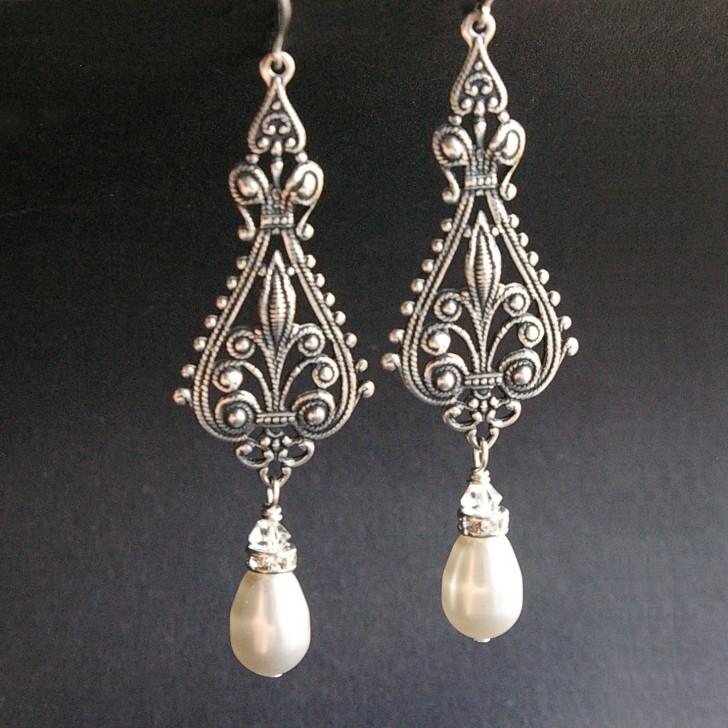 Permalink to Antique Silver Chandelier Earrings
