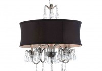 Black Drum Chandelier With Crystals