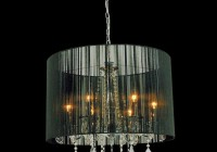 black drum shade chandelier with crystals