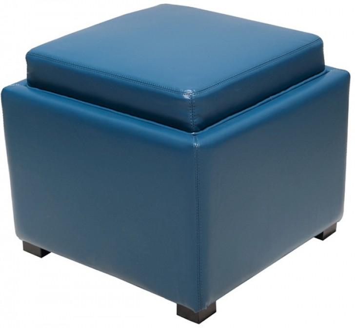 Permalink to Blue Storage Ottoman With Tray