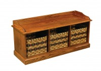 Brown Storage Bench With Baskets