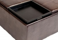 Brown Storage Ottoman Coffee Table With 4 Flip Trays