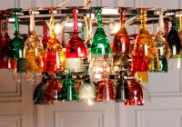 Coloured Wine Glass Chandelier