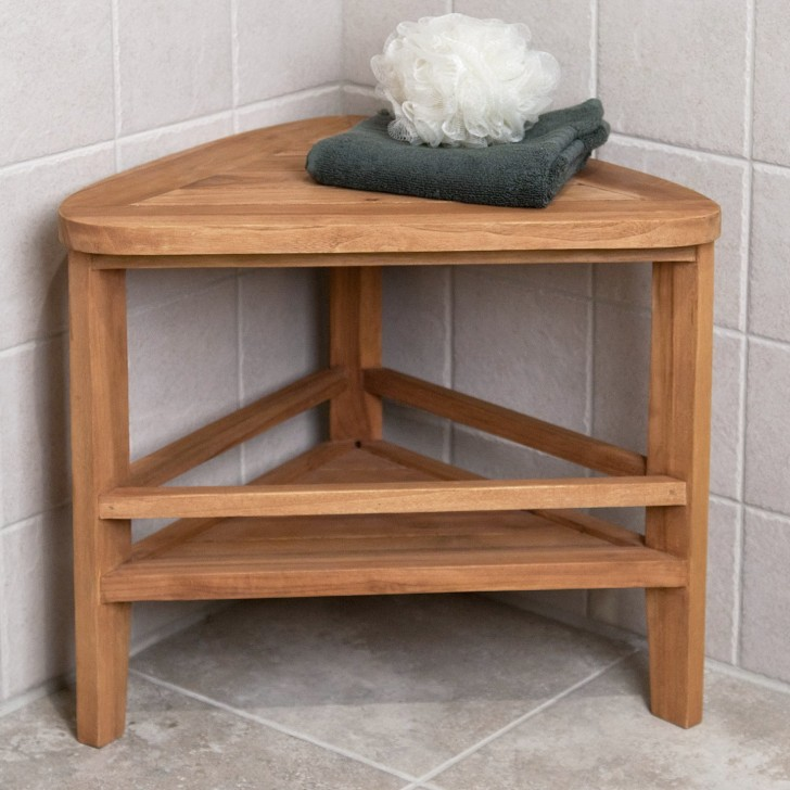 Permalink to Corner Teak Shower Bench