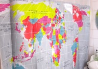 Fabric Shower Curtain World Map