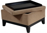 fabric storage ottoman with tray