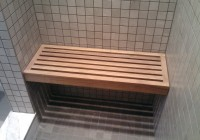 floating teak shower bench