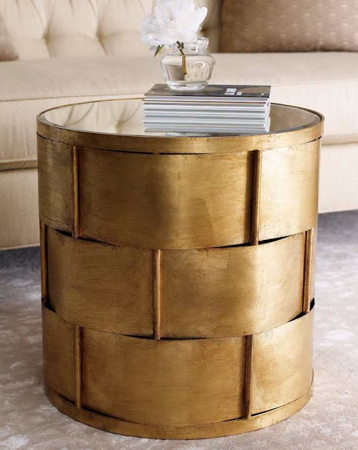 Permalink to Gold Mirrored Accent Table