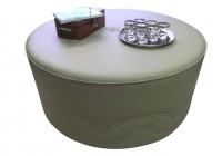 Large Leather Ottoman Round