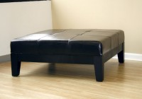 Large Square Leather Ottoman