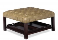 Leather Cocktail Ottoman With Shelf