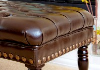 Leather Tufted Ottoman With Casters