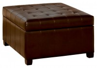 Leather Tufted Storage Ottoman