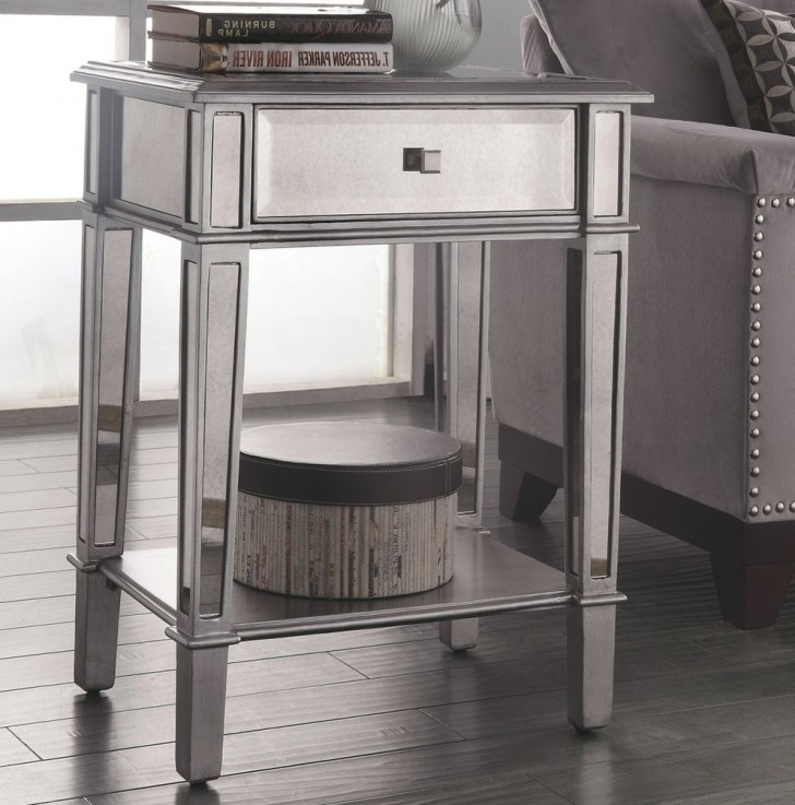 Permalink to Mirrored Accent Table With Drawer