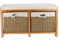 Oak Storage Bench With Baskets