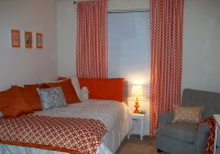 orange and white curtain panels