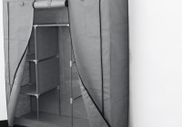 Portable Closet Storage Organizer Wardrobe Clothes Rack With Shelves Grey