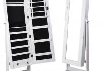 Premium White Cheval Mirror Jewelry Cabinet Armoire Box Stand Organizer