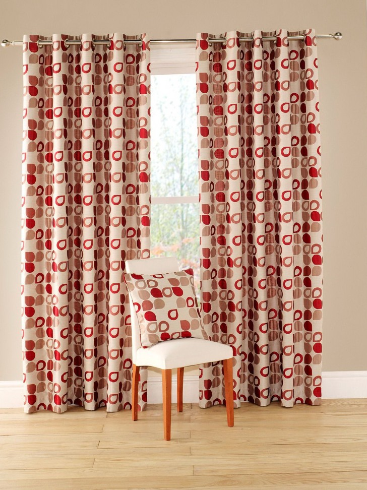 Permalink to Red Geometric Pattern Curtains