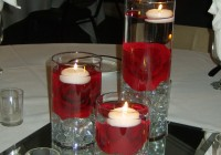 Red Glass Cylinder Vases