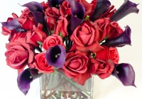 Roses In Square Glass Vase