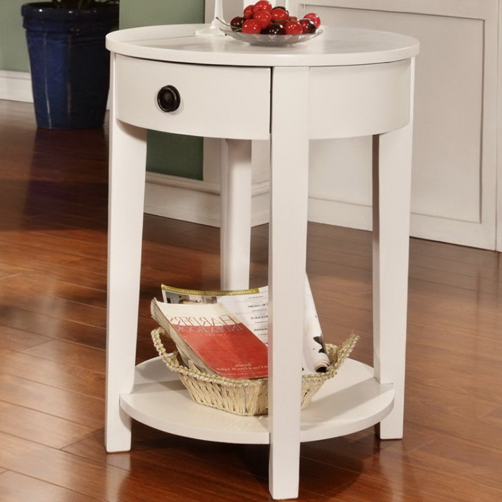 Permalink to Round Accent Table With Drawer