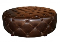 Round Leather Ottoman Tufted