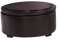 Round Leather Ottoman With Storage