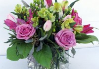 Square Glass Vase Flower Arrangement